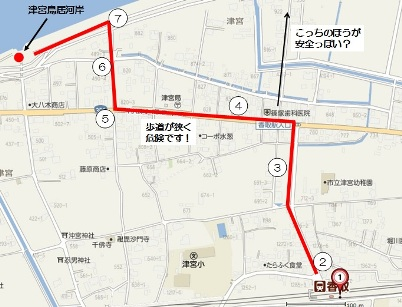 津宮鳥居への経路