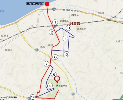 津宮鳥居から香取神宮への道