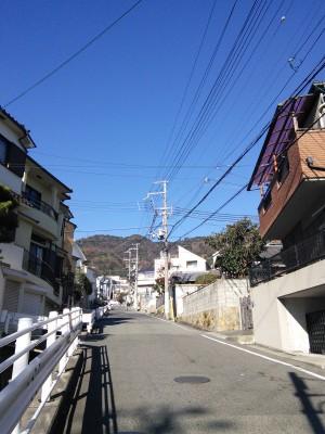 降る途中で振り返り摩耶山を撮影