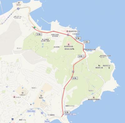村雨の碑~走水神社までの経路