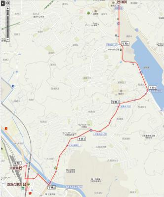 久里浜から浦賀までの地図