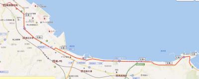 走水神社から横須賀中央駅への経路