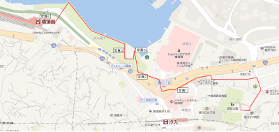 諏訪大神社から横須賀駅までの経路