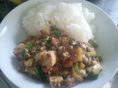 豆腐と豚肉、じゃがいものとろみ炒め